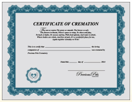 Certificate of cremation from Precious Pets, Springfield Missouri.